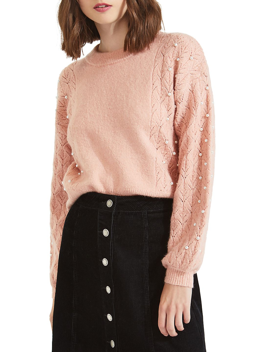 Faux-Pearl Puff Sleeve Sweater