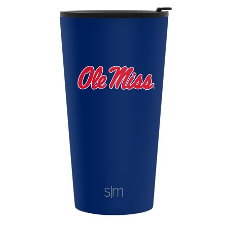 Simple Modern 16oz Pint Tumbler - Ole Miss Rebels Vacuum Insulated 18/8 Stainless Steel Tailgating Cup Travel Mug - Ole - Ole Miss Stainless Steel