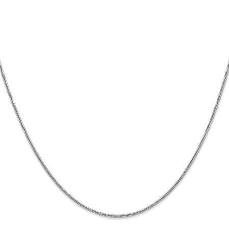 14k White Gold 1.2mm Round Snake Chain Necklace