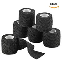 "Self-Adherent Cohesive Bandage - Black Medical Wrap - 6 Rolls 2"" Wide x 5 Yards Sports Tape for Medical Use, Sports, First Aid and Helps Protect Skin"