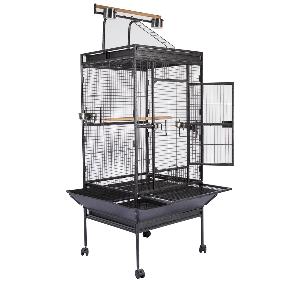 """63"""" Bird Cage Large Play Top Parrot Finch Cage Macaw Cockatoo Pet Supply Black"""