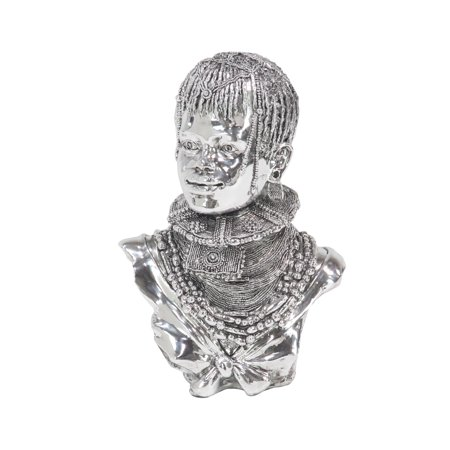 Decmode Modern Polystone Silver-Finished African Lady Bust, Silver ()