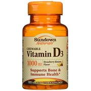 4 Pack - Sundown Naturals Vitamin D3 1000 IU Chewable Tablets 120 Tablets Each