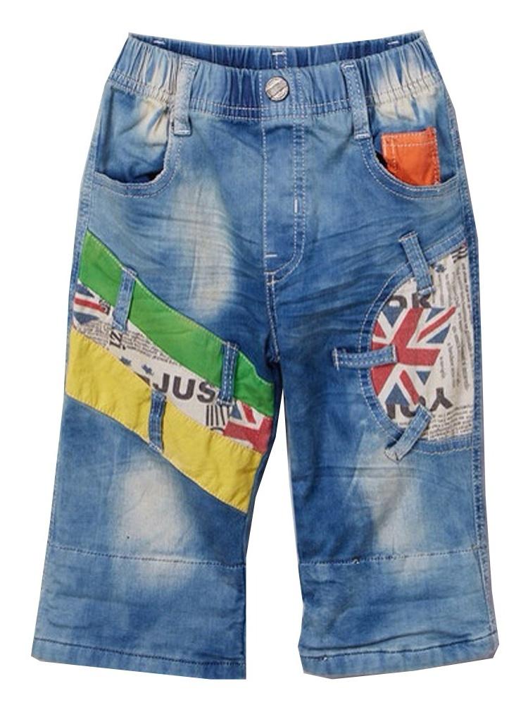Rock'nStyle Boys Light Blue Colorful Patches Pockets Denim Pants