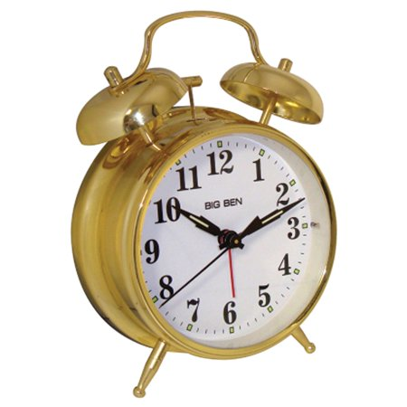 Westclox QA Twin Bell Metal Alarm Clock, 4.55W x 2.1D x 6.75H In. Metal Alarm Clock Bells