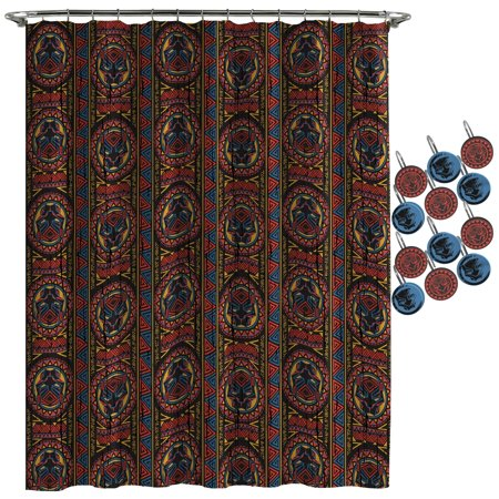 Marvel Black Panther Tribal Panther Shower Curtain and Hooks Set - Marvel Shower Curtain