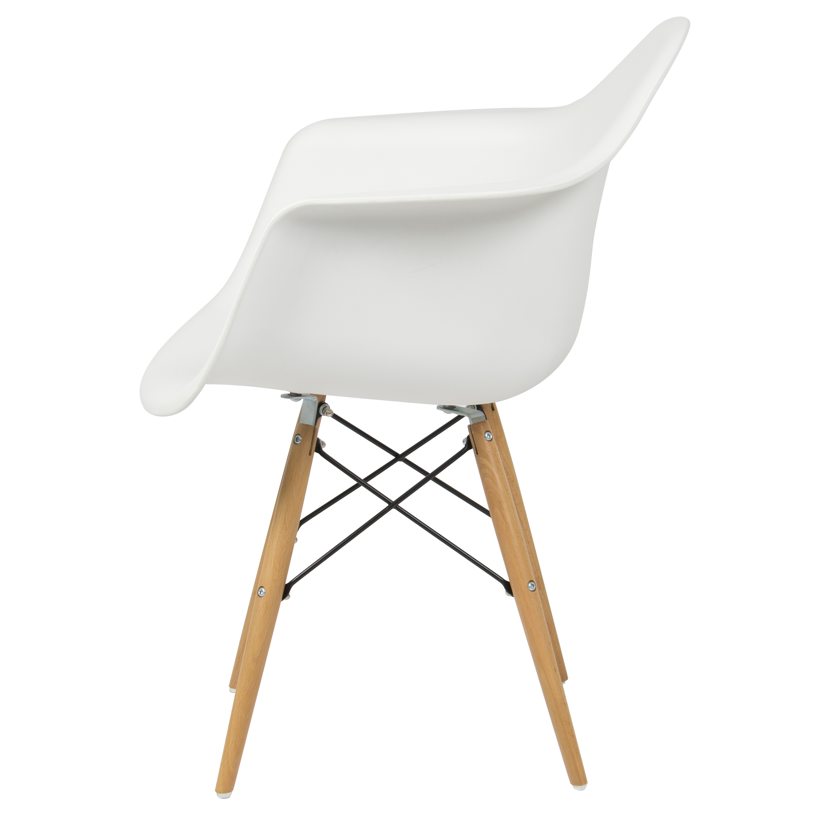 Best Choice Products Eames Style Modern Mid Century Armchair W/ Molded  Plastic Shell   White