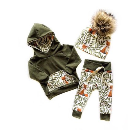 2Pcs Newborn Toddler Kids Baby Girl Boy Fox Hooded Tops Pants Leggings Autumn Outfits Clothes - Fox Outfit
