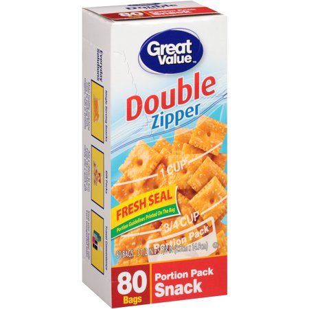 Great Value Double Zipper Portion Pack Snack Bags 80 Ct