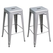AmeriHome Loft Silver Metal Bar Stool 2 Piece by Buffalo Corp