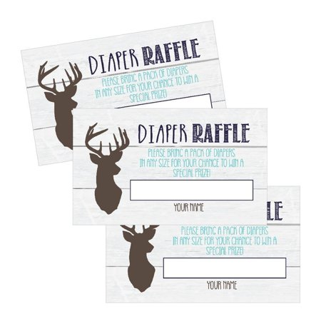 25 Diaper Raffle Ticket Lottery Insert Cards For Blue Boy Deer Buck Baby Shower Invitations Supplies and Games For Baby Gender Reveal Party, Woodland Bring a Pack of Diapers to Win Favors Gifts Prizes](Baby Shower Supplies For Boys)