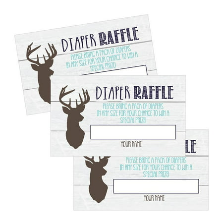 25 Diaper Raffle Ticket Lottery Insert Cards For Blue Boy Deer Buck Baby Shower Invitations Supplies and Games For Baby Gender Reveal Party, Woodland Bring a Pack of Diapers to Win Favors Gifts Prizes - Disneyland Tickets Halloween Party