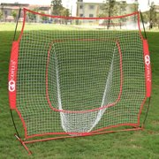 Costway 7X7' Baseball Softball Practice Hitting Batting Training Net Bow Frame Red Bag by Costway