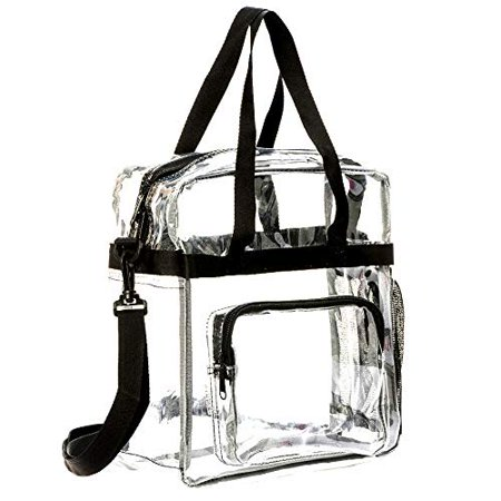 "12"" Clear PVC Messenger Bag Heavy Duty See Through Tote NFL AAF Stadium Approved Handbag Transparent Pouch Hand Bags Top Handle & Adjustable Shoulder Strap Black"