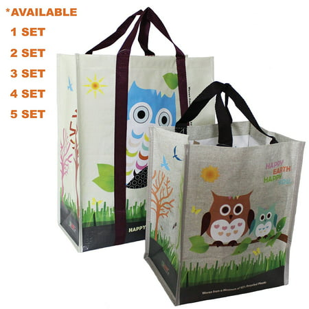 EcoJeannie® COMBO SET (1 XL + 1 Mini = 2 Pcs) Super Strong Laminated Woven Reusable Shopping Tote Bags (Avail:1,2,3,4,5 Sets),Free Standing,Recycled Plastic/Bottom Board&Reinforced Nylon Handle - Reusable Totes