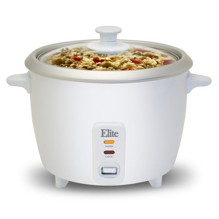 Elite Gourmet ERC-003ST 6-Cup Rice Cooker with Steam Tray, White
