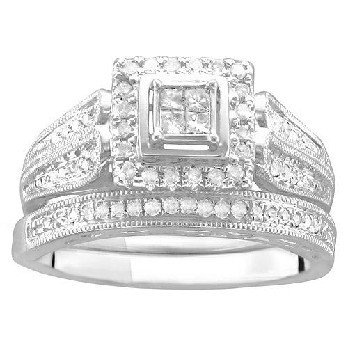 1/3 Carat T.W. Princess-Cut Diamond Bridal Set in 10kt White Gold