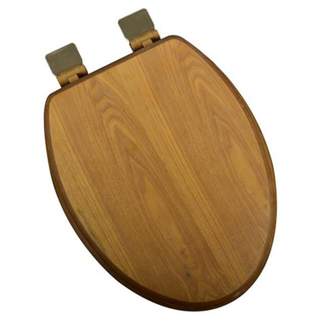 Plumbing Technologies 5F1E1-17BR Decorative Wood Elongated Toilet Seat Polished Brass , Light Oak