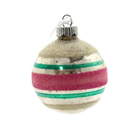 Vintage Christmas Ornaments (Holiday Ornaments PINK/GREEN  STRIPED BALL Shiny Brite Vintage Christmas)