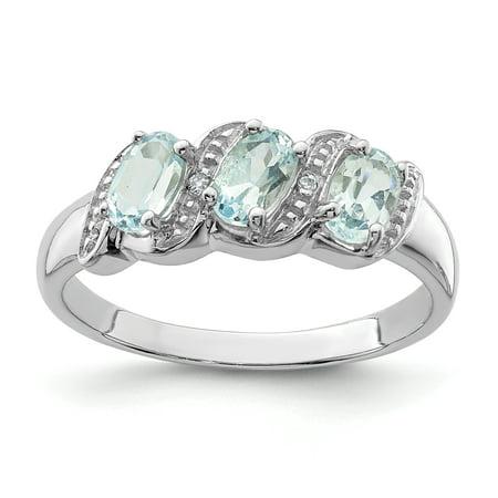 925 Sterling Silver Rhodium Aquamarine and Diamond Ring - image 2 de 2