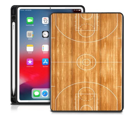 "DistinctInk® Case compatible with iPad Pro 11"" - Custom Case / Stand with Apple Pencil Holder - Auto Sleep/Wake - Printed - Basketball Court Layout"