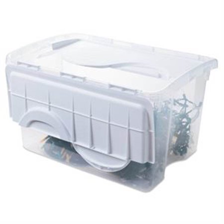 Sterilite 1914 Single 48 Quart Clear Base Hinged Lid Storage Box Tote Container - image 6 de 12