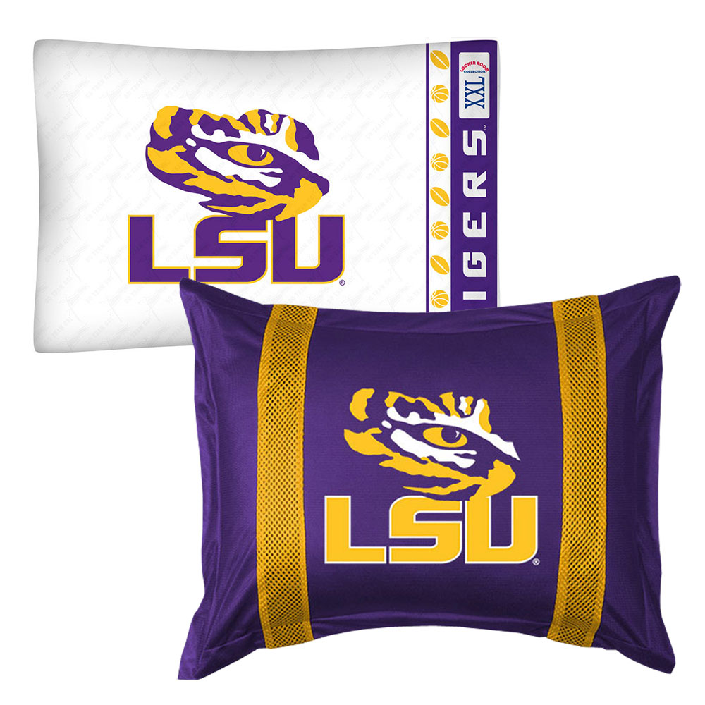 2pc NCAA Louisiana State Tigers Pillowcase and Pillow Sham Set College Team Logo Bedding Accessories