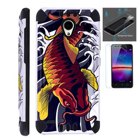 For Cricket Wave (2018) Case + Tempered Glass Brushed Metal Texture Hybrid  TPU KombatGuard Phone Cover (Red Koi Fish)