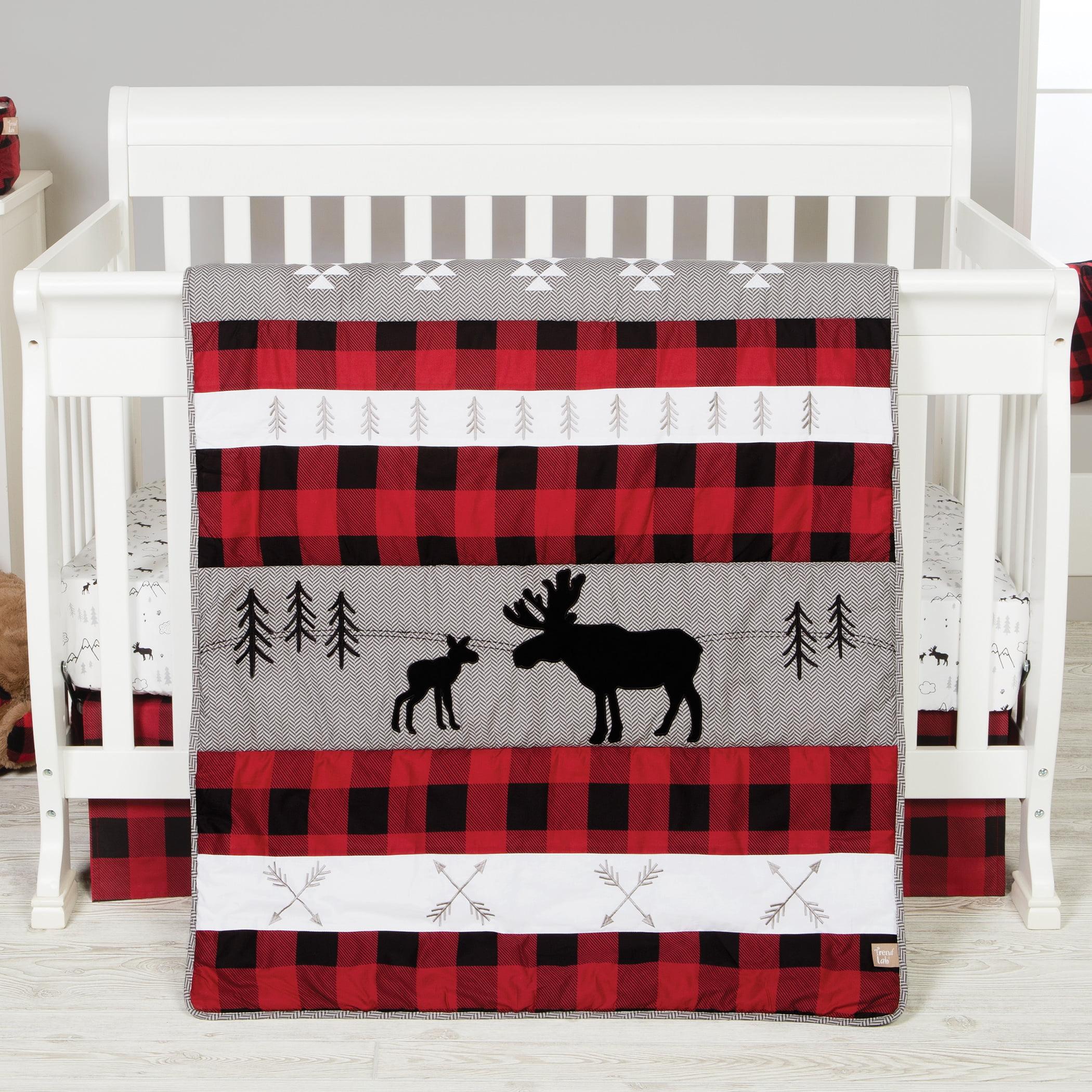 Lumberjack Moose 3 Piece Crib Bedding Set Walmart Com Walmart Com