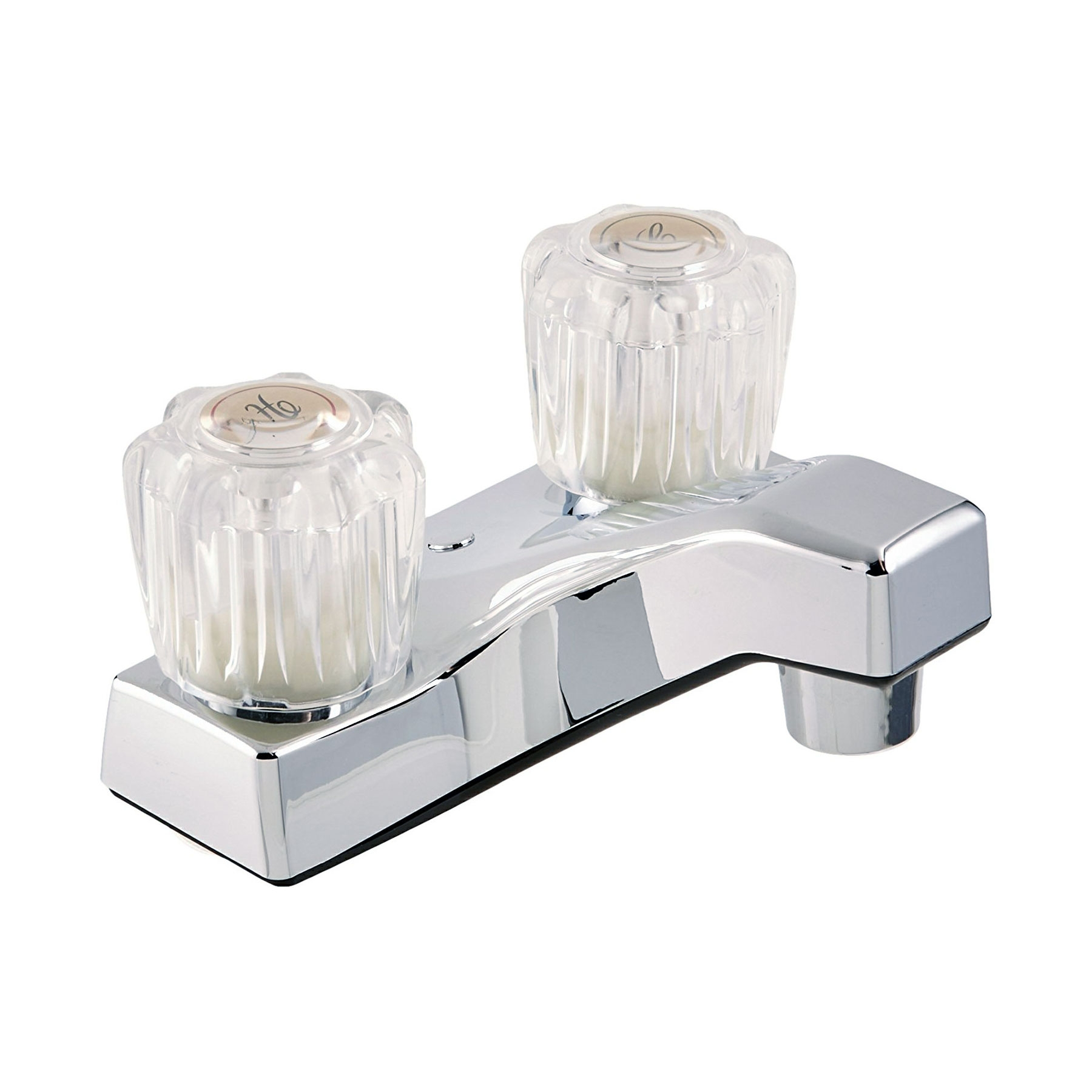 Two Handle RV Lavatory Bathroom Faucet Clear Crystal Acrylic Knobs, Chrome Finish, for Travel Trailers, Campers, Motorhomes