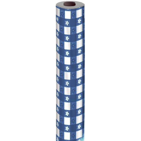 Blue Classic Picnic Gingham Plastic Roll Table Cover Party Decoration