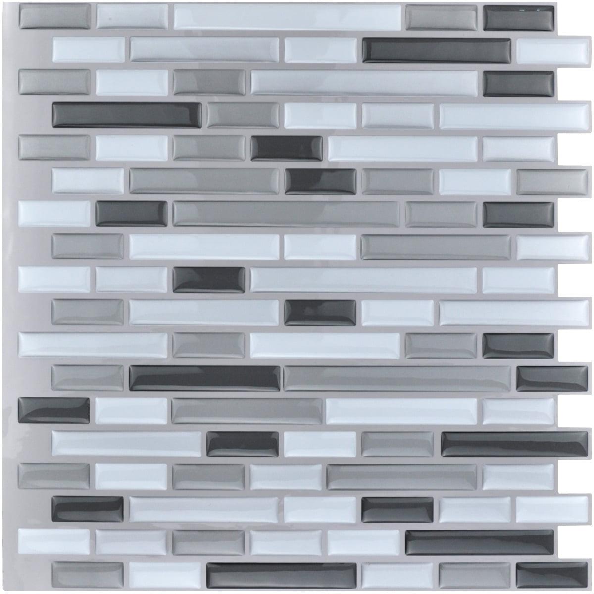 - Art3d 10-Pieces Peel And Stick Vinyl Sticker Kitchen Backsplash Tiles, 12