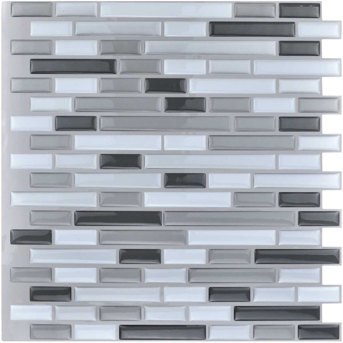 "Art3d 10-Pieces Peel and Stick Vinyl Sticker Kitchen Backsplash Tiles, 12"" x 12"" Gray White Design"