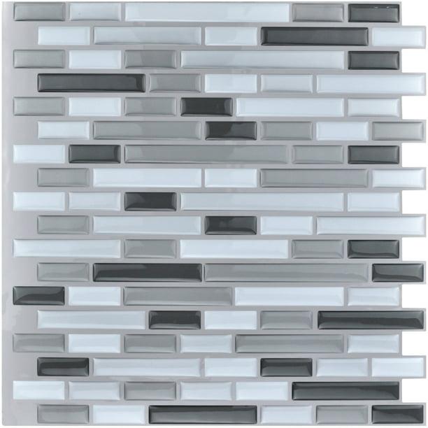 Art3d 10 Pieces Peel And Stick Vinyl Sticker Kitchen Backsplash Tiles 12 X 12 Gray White Design Walmart Com Walmart Com
