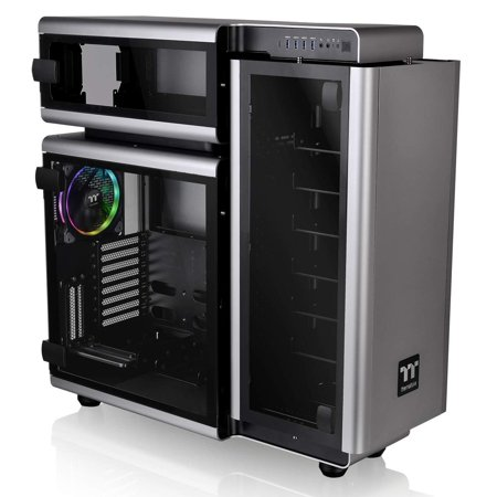 Thermaltake Level 20 Tempered Glass E-ATX Vertical GPU Trio-Chamber Aluminum Full Tower Modular Gaming Computer Case CA-1J9-00F9WN-00 3 140mm Riing Plus Fan + 2 Lumi Plus LED Strips Pre-Installed ()