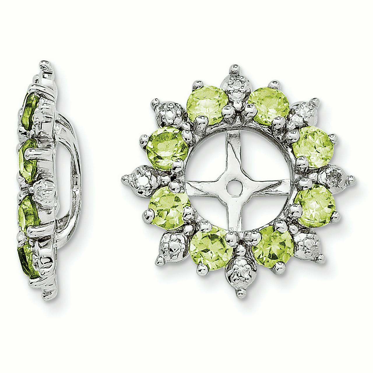 Sterling Silver Diamond & Peridot Earring Jacket