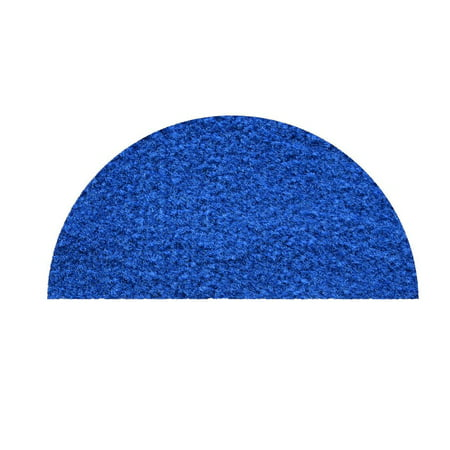 """Saturn collection pet friendly area rugs with Rubber Marine Backing for Patio, Porch, Deck, Boat, Basement or Garage with Premium Bound Polyester Edges Blue Half Round 20"""" x 40"""""""