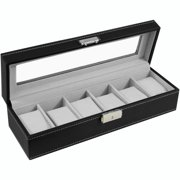 Watch Box Leather Glass Top Jewelry Case Watch Organizer