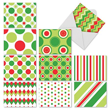 M10010XB A SPOT-ON SEASON' 10 Assorted All Occasions Notecards Feature Geometric Shapes In Modern Holiday Colors with Envelopes by The Best Card
