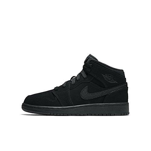 Nike Air Jordan 1 Mid (554725-040) Boy Skateboarding Shoes Black/White