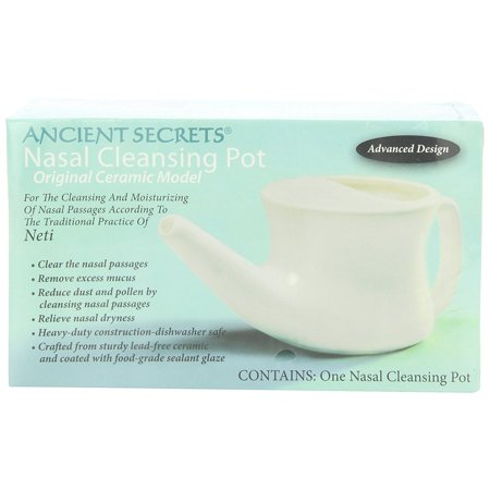 Ceramic Nasal Cleansing Pot, 1 Neti Pot, The patented Ancient Secrets design is an updated one that provides a better fit, better control and easier use..., By Ancient Secrets Ship -