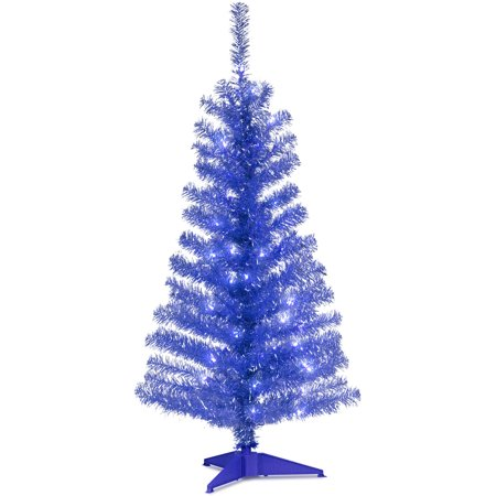 4' Blue Tinsel Tree with Clear Lights Blue Green Silver Christmas Trees
