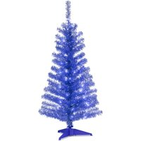 4' Blue Tinsel Tree with Clear Lights