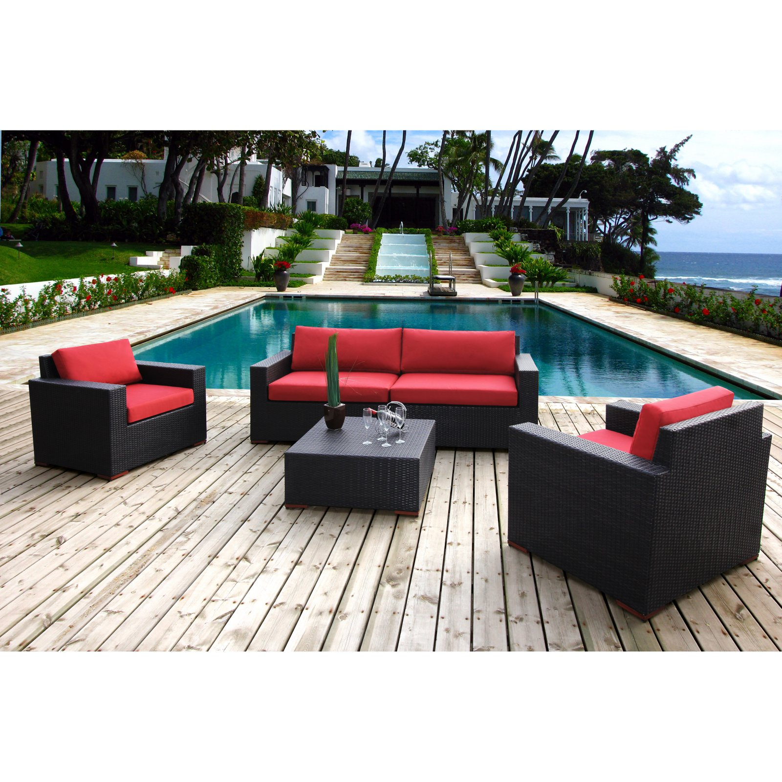 Nevis 5-Piece Deep Seating Sofa Set, Red