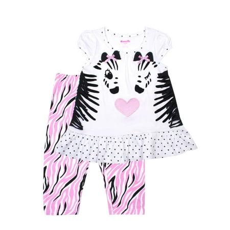 Nannette Cap Sleeve Zebra Top & Capri Leggings, 2pc Outfit Set (Baby Girls & Toddler Girls)](Zebra Outfit)