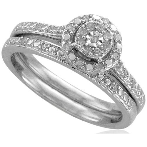Forever Bride 1/5 Carat T.W. Diamond Sterling Silver Bridal Set