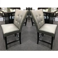 "Set of 2 - 24"" Seat Height Silver Faux Leather Dining Chair"