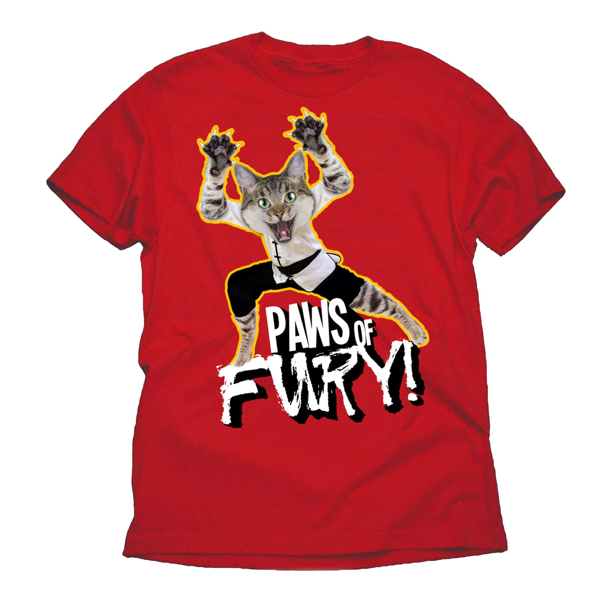Paws of Fury Funny Cat Big Mens Graphic Red Tee Shirt