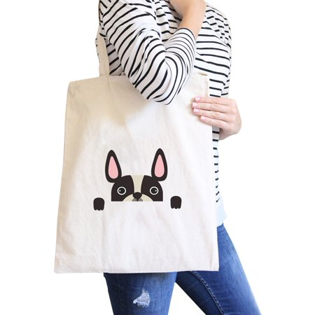 French Bulldog Peek A Boo Natural Canvas Bag Gifts For Dog Owners ()