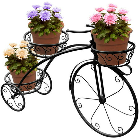 Tricycle stand 3 Flower Pot Display Rack (Black) (Tricycle Plant Stand)